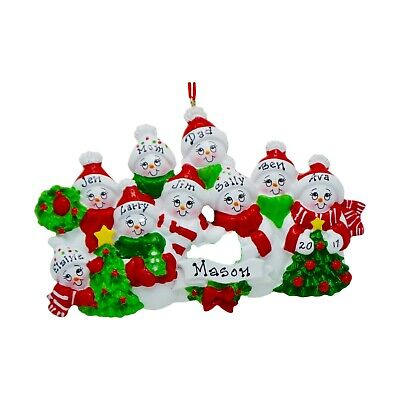 PERSONALIZED Cozy Snowman Family of 9 Christmas Tree Ornament 2019 Holiday Gift ()