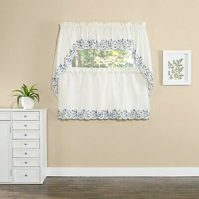 Bloom kitchen curtains swag valance tiers floral light blue cobalt navy - Cobalt Blue Curtains