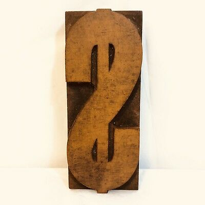 Dollar Sign Antique Wood Printers Block Type Press 5 X 2