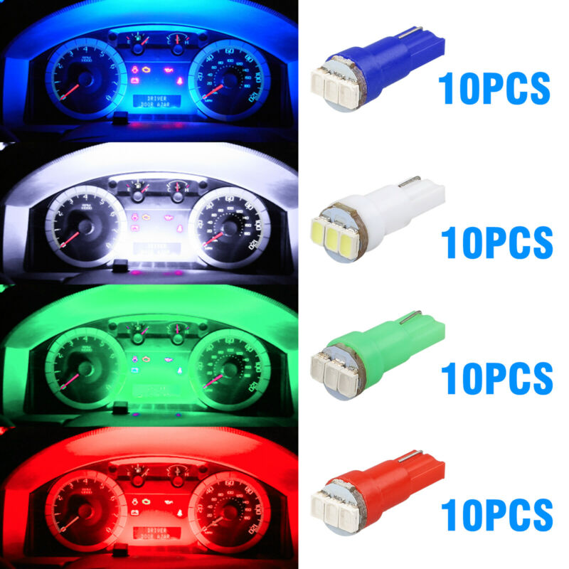 40x T5 74 3-SMD-3014 LED Speedometer Instrument Gauge Cluster Dash Light Bulbs