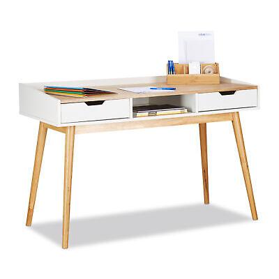 Sekretär Schreibtisch (Schreibtisch Computertisch Bürotisch Arbeitstisch Sekretär 2 Schubladen weiß)