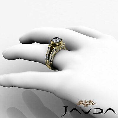 Split Shank Bezel Pave Setting Round Diamond Engagement Ring GIA F VS2 1.71 Ct 10