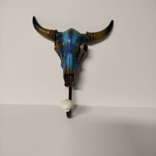 Wall Hanger Steer Skull Strikingly Painted in Bright Blues and Green