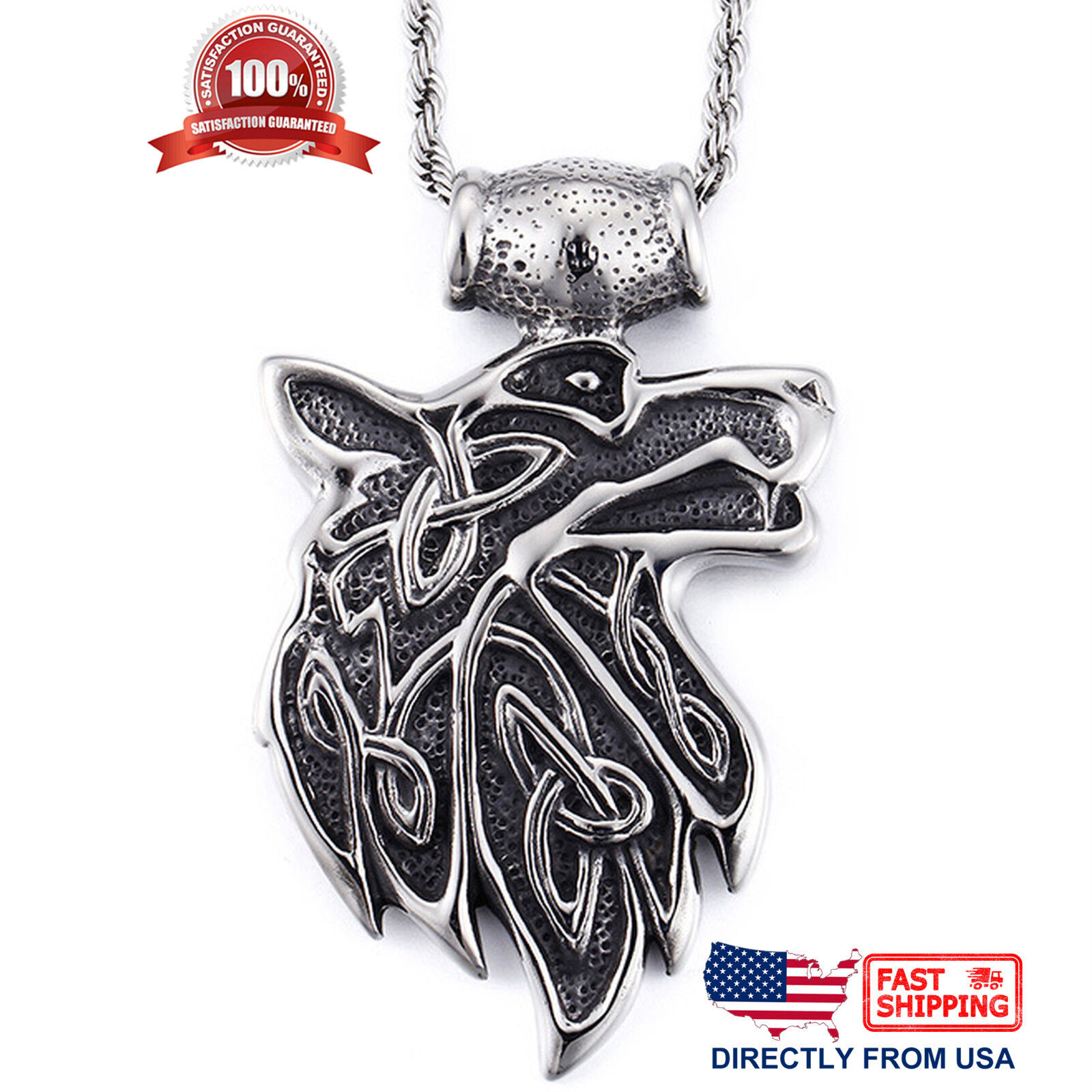 Mens Biker Jewelry, Large and Heavy Stainless Steel Tribal Wolf Pendant Necklace Chains, Necklaces & Pendants