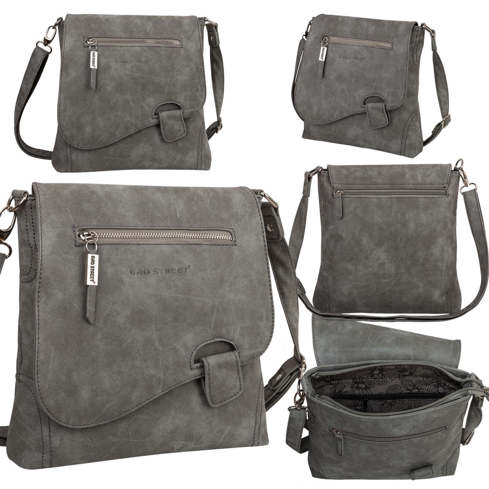 Bag Street Damentasche Umhängetasche Handtasche Schultertasche K2 T0104 Grau