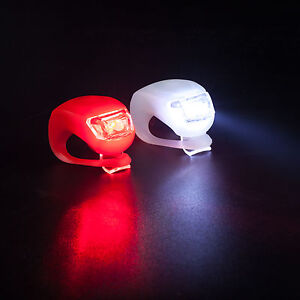 TRIXES 2 LED Silicone Bike Lights Front & Rear set Cycle Safety Clip on