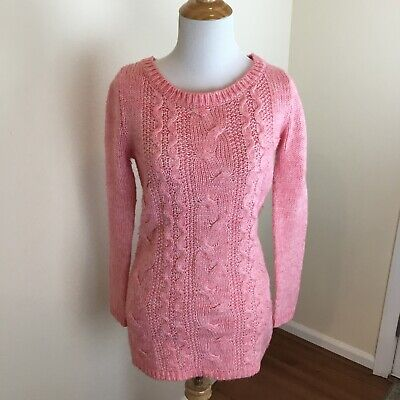 Divided H&M Women's Salmon Pink Wool Blend Cable Knit Sweater Size 2