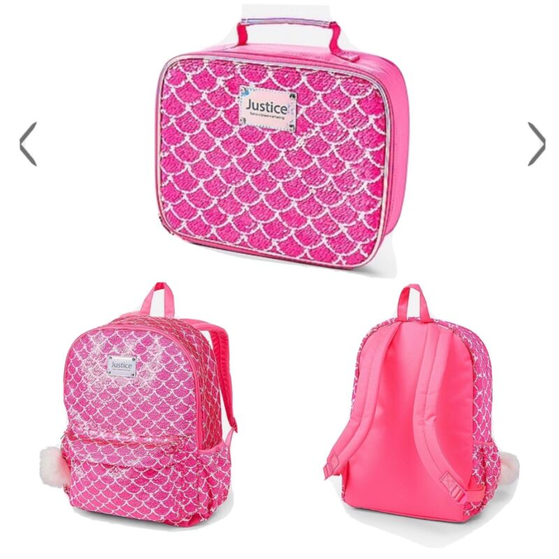 Justice Girls Mermaid Sequin Backpack & Lunch Box Combo NWT