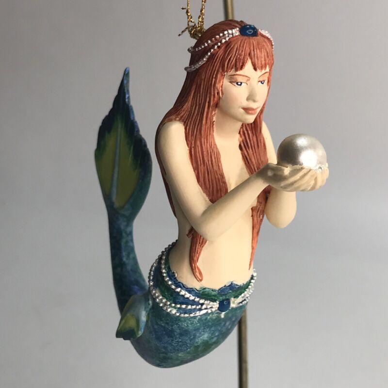 Coastal Mermaid Holding A Pearl Christmas Ornament  Nautical Hand Painted