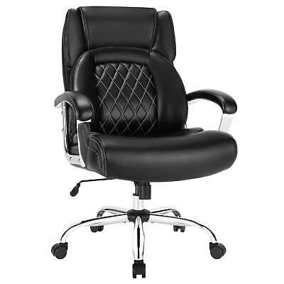 Costway 500lbs High Back Big Tall Office Chair Adjustable Leather Task Chair