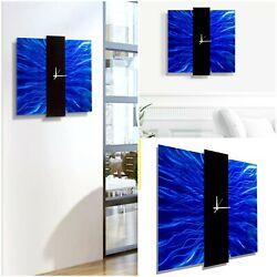 BEAUTIFUL BLUE Metal Wall Art Clock Modern Abstract  Designer Decor by Jon Allen