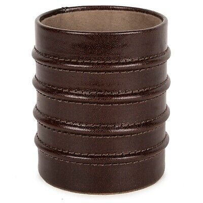 Pen Pencil Desk Holder Cup Case Organizer -genuine Leather With Fiber Sheet