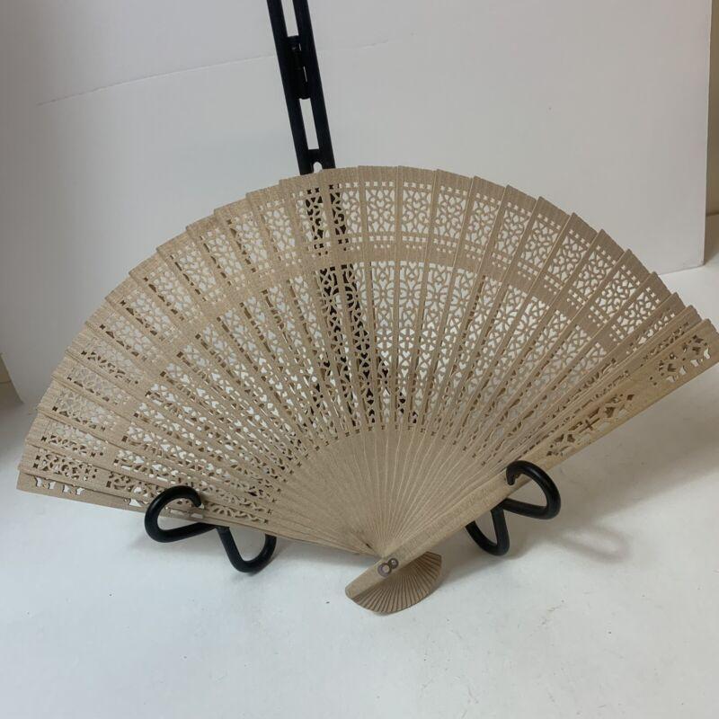 Vintage Japanese Fan Handheld Accordion Folding Wooden Cutwork Unpainted Plain