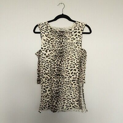 KITX Top Size S Leopard Print Fine Cotton 100% Organic Knit Panelled