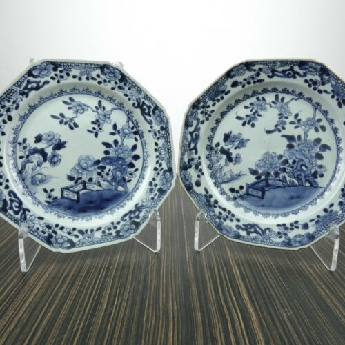 c1800 Antique Chinese Blue Underglaze Hand Painted Octagonal Plates