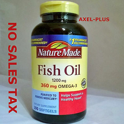 Nature Made Fish Oil 1200 Mg  360 Mg Omega 3  200 Liquid Softgels