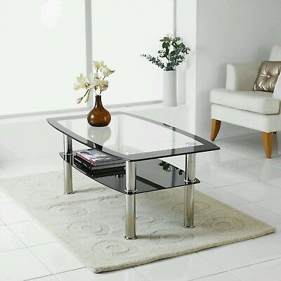 تربيزه جديد Modern Black & Clear Glass Chrome Living Room Coffee Table with Lower Shelf