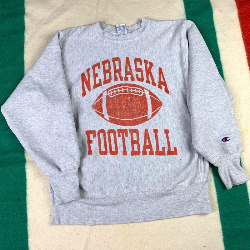 Vintage 1990s Champion Reverse Weave Nebraska Football College Sweatshirt Size L