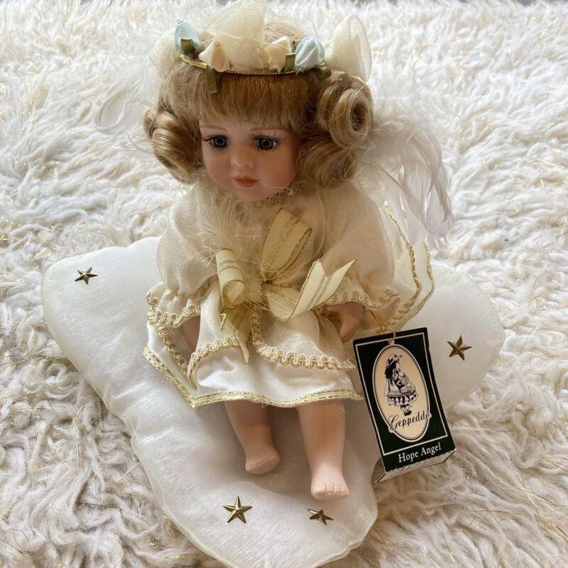 Geppeddo Hope Angel Porcelain Doll Cherub Girl Christmas Holiday Decoration