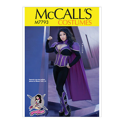McCall's 7793 Sewing Pattern to MAKE Cosplay Stretch Bodysuit w/Corset & Cape