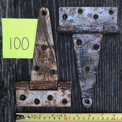"""2 Vintage Barn Door Hinges 4.5"""" x 8"""" Patina Antique Salvage Hardware Ranch Farm"""