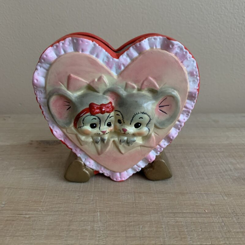 Vintage Valentine's Day Heart Mice Couple Ceramic Planter