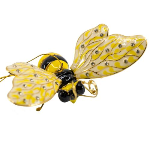 Cloisonne Enameled Metal Articulated Bee Ornament Movable Wings With Crystals