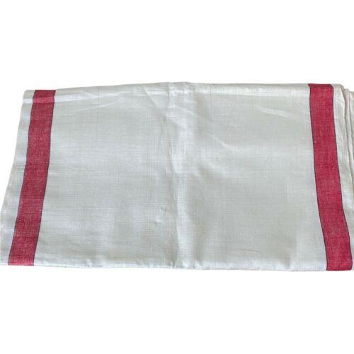 Uncut Linen Toweling Red Stripe Vintage 3 Yards Fabric