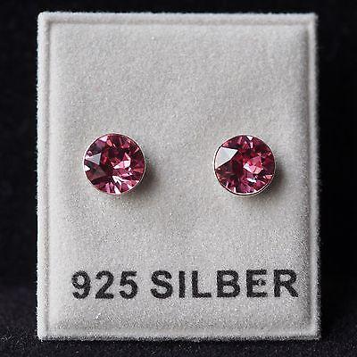 NEU 925 Silber OHRSTECKER mit 6mm SWAROVSKI STEINE rose/rosa OHRRINGE