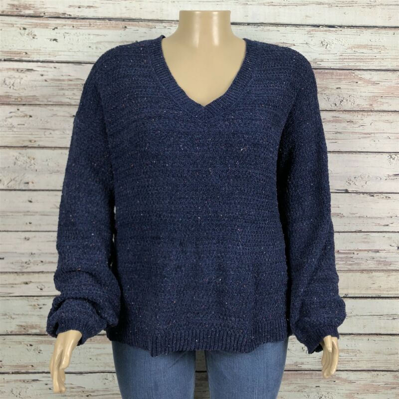 Ingrid & Isabel Maternity Chenille V-neck Sweater XL Navy Blue Confetti Fleck