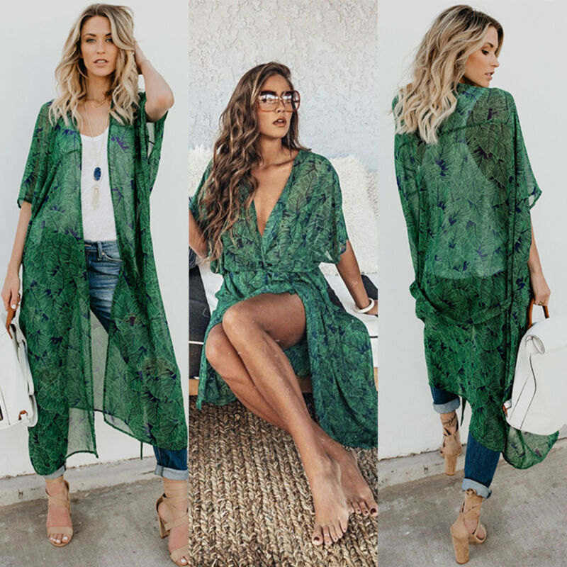 Damen Blume Kimono Cardigan Locker Bluse Strand Cover Up Mantel Boho Strickjacke