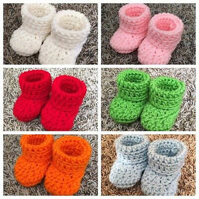 17 Color Baby Booties Crochet Handmade Size 0-3 Months ()