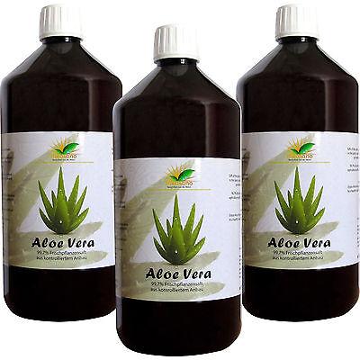 Measano Aloe-Vera-Saft - 99,7 % Reinheit - Aloe Barbadensis Miller - 3 x 1 Liter ()