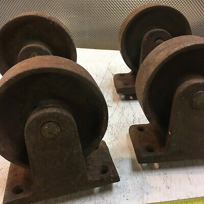 Vintage Set Of 4 Cast Iron Factory Industrial Caster Cart Wheels Heavy Duty 5