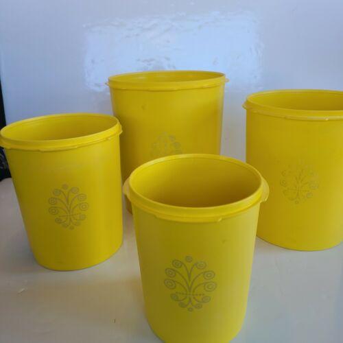 Vintage Tupperware Yellow Canisters Lids Servalier 805 807 809 811 Starburst