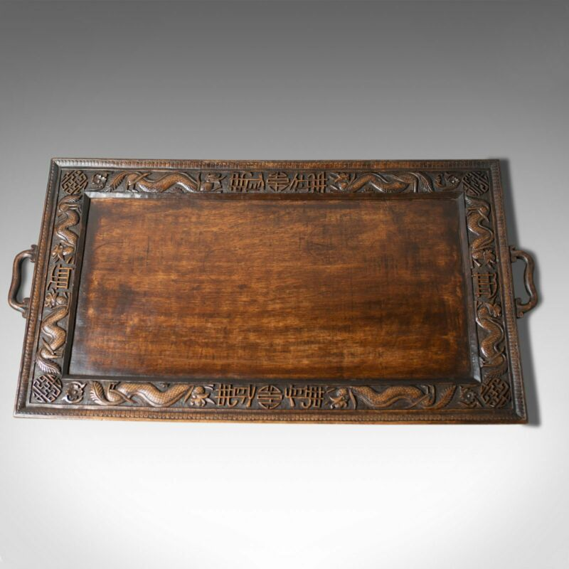 Antique Tray, Oriental, Carved, Teak, Early 20th Century, Circa 1900