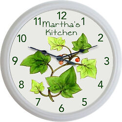 Franciscan Ivy White Pattern Wall Clock Custom Personalized Kitchen New 10