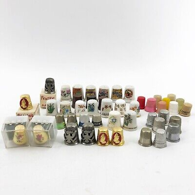 Huge Lot of 46 Vintage Sewing Thimbles Pewter Porcelain Enamel Wood Advertising