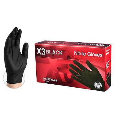 Ammex Bx3 Black Nitrile Industrial Latex Free Disposable Gloves Box Of 100