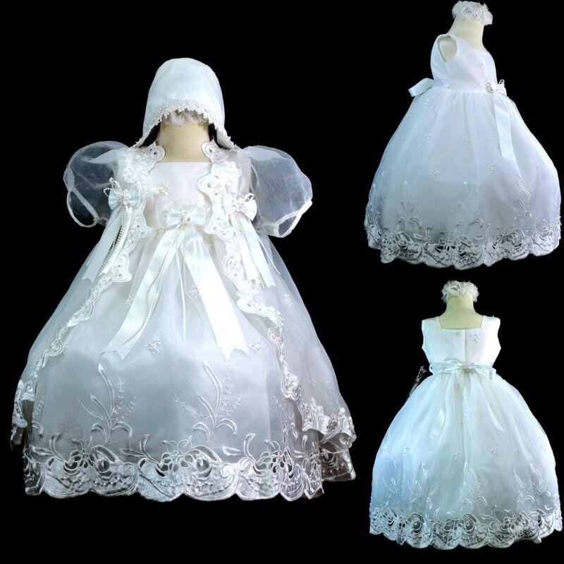New Infant Girl & Toddler Christening Baptism Church Formal Dress White