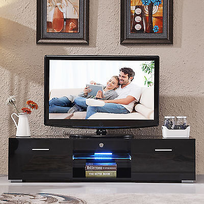 مكتبة تلفزيون جديد High Gloss TV Stand Unit Cabinet Console Furniturew/LED Shelves 2 Drawers Black