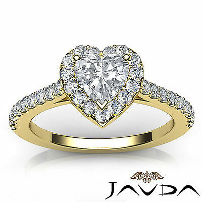 Halo French Pave Set Heart Diamond Engagement Wedding Ring GIA F Color VVS2 1Ct 3