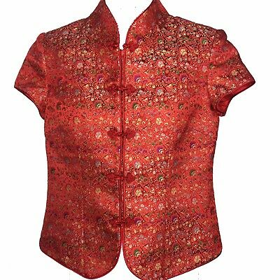Ling Yuu Chinese Style Top Jacket Sz Medium Short Sleeve Red Medallion