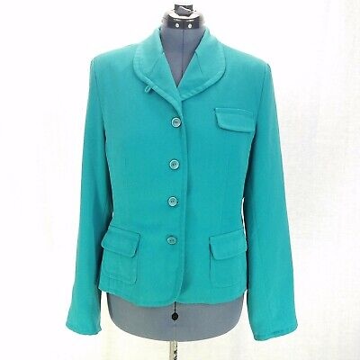 Metro Style Blazer Jacket Womens L Teal Long Sleeve Button Front Lined Career ()