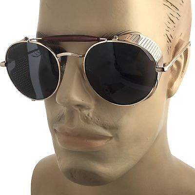 Mens Gold Vintage Retro Steampunk Gothic Side Shield Hipster Round (Sunglasses Gold Sides)