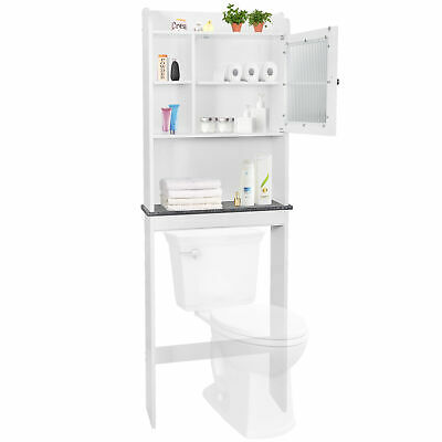 Over The Toilet Space Saver Organization Wood Storage Cabinet Home Bathroom