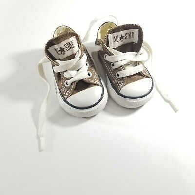 Converse White and Brown Infant Chucks Taylor Size 2 Baby Sneakers Crib Shoes