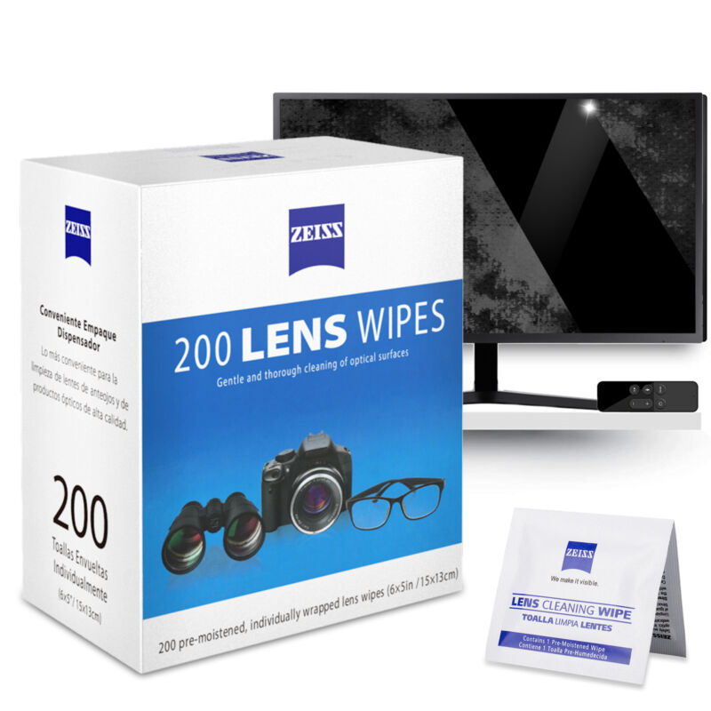 200 Zeiss Pre-Moistened Lens LCD LED Screen Optical Camera Cleaning Cloth Wipes