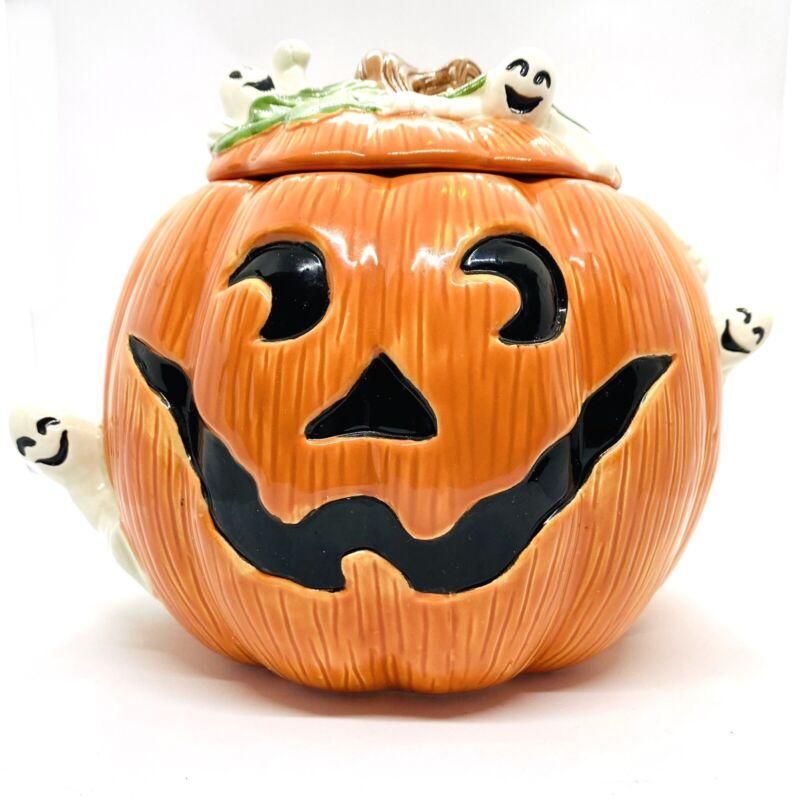 Orange Pumpkin Ghost Cookie Jar Halloween Omnibus By Fitz &  Floyd Sri Lanka