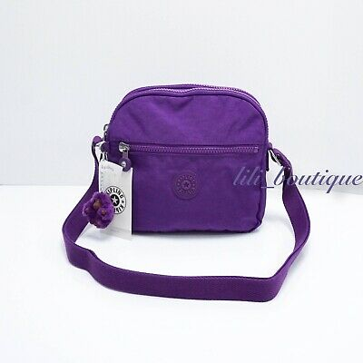 NWT Kipling HB6467 Keefe Shoulder Crossbody Bag Double Zip Nylon Tile Purple $79